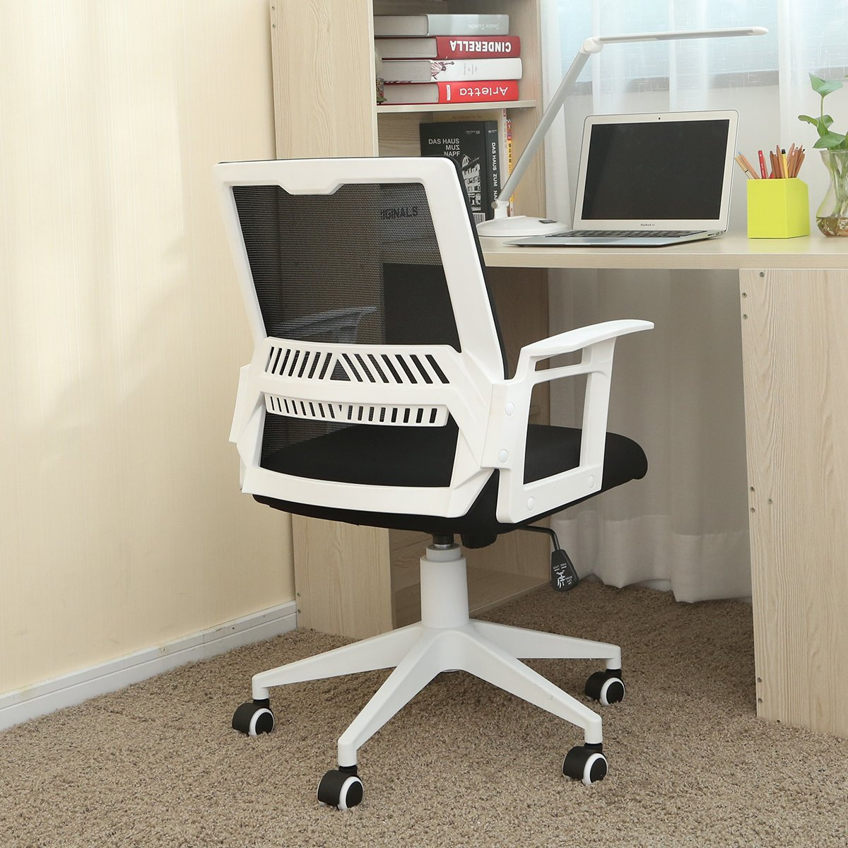Hbada Desk Office Chair - Adjustable Modern Computer Chair, Meeting and Reception Chairs with Ergonomic Mesh Back and Lumbar Support Low Back - White