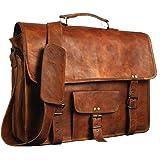 "Krish 15"" Vintage Leather Messenger Soft Leather Briefcase Satchel Laptop"