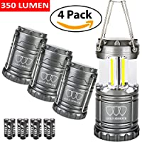 Brightest LED Lantern - Camping Lantern (EMITS 350 LUMENS!) - 4Pack Camping Gear Camp Equipment Camp Light Flashlight for Hiking, Emergencies, Hurricanes, Outages, Storms (Gray, 4 Pack)
