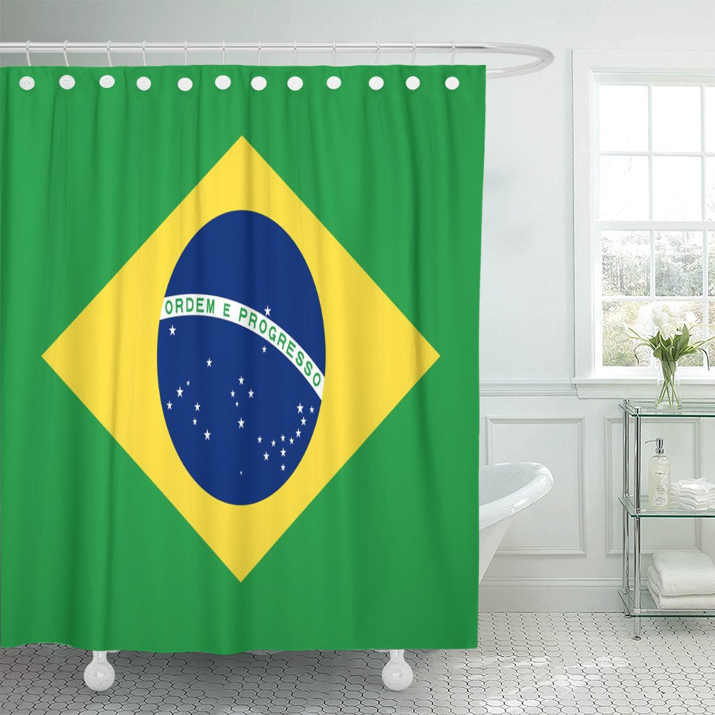 Emvency Shower Curtain Blue Brasil Brazil Flag Official Colors and Proportion Correctly National Brazilian Accurate America Waterproof Polyester Fabric 72 x 72 inches Set with Hooks