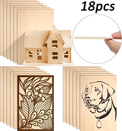Amazon Com Balsa Wood Sheets Unfinished Basswood Thin Sheets Hobby Plywood Board For Diy Crafts Wooden Mini House Boat Airplane Model 150 X 100 X 2 Mm 18 Pieces
