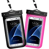 [2 Pack] Universal Waterproof Phone Pouch, MoKo IPX 8 Waterproof Phone Case Dry Bag with Armband & Neck Strap for iPhone X/8 Plus/8/7/6S Plus, Samsung, BLU, MOTO , up to 6 Inches - BLACK + MAGENTA