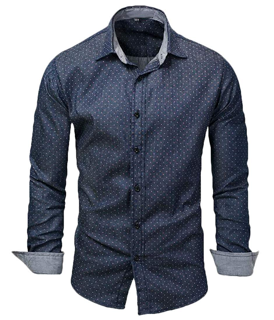 Domple Mens Long Sleeve Button Down Jeans Polka Dot Casual Regular Fit Shirts