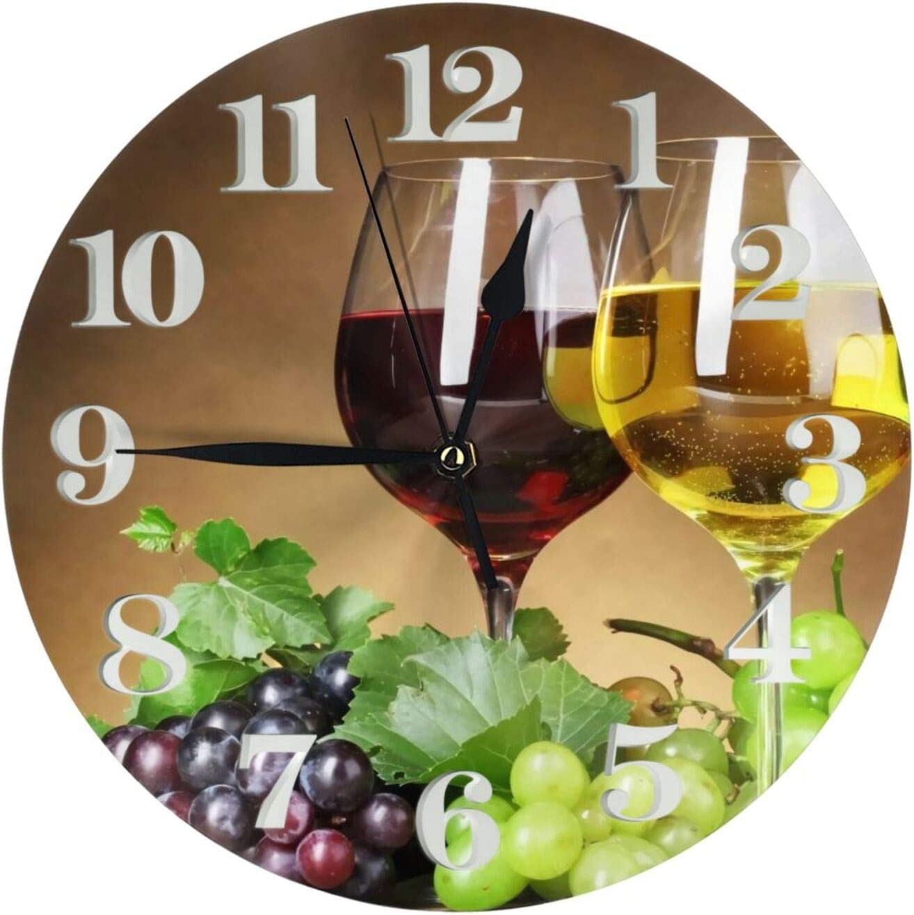 Red Wine Grape Round Wall Clock Vintage Decorative Non-Ticking Silent Battery Operated Quartz Analog Home Decor Art Desk Clocks for Living Room Bedroom Office School Kitchen 9.84 Inch