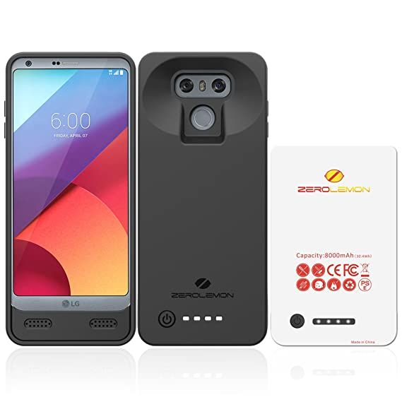 LG G6 Battery Case, ZeroLemon Ultra Power 8000mAh Extended Battery Case Rechargeable Charging Case with Soft TPU Full Edge Protection Case for LG G6– ...
