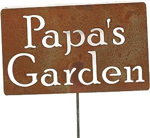 81 Metal Art Family Name Gift Garden Stake 21 to 33 Inches Tall (Papa's Garden, Small 21