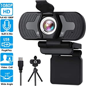 URGENEX Full 1080P Webcam with Microphone Pro Streaming Web Camera USB Computer Camera PC Mac Laptop Desktop Video Calling Conferencing Recording with Privacy Shutter and Tripod Stand