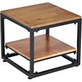 "VILAVITA 2 Tier Square Side Table 20"" Wood End Table with Stroage Shelves for Sofa, Living Room, Bedroom or Family Room"