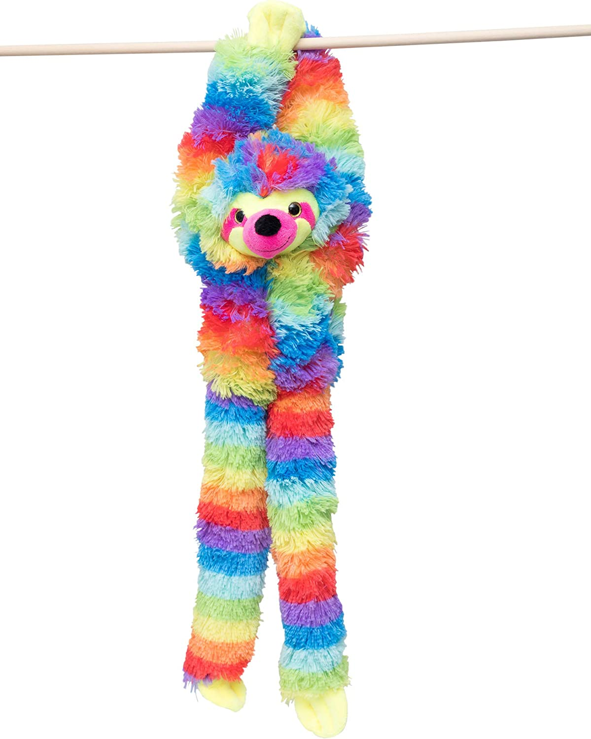 Edgewood Toys 24-Inch Hanging Tie Dye Sloth Stuffed Animal – Sloth Plush Toy with Specially Designed Ultra Soft Plush Feel - Hands That Connect Together - Assorted Rainbow Colors