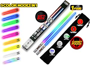 LIGHTSABER CHOPSTICKS LIGHT UP STAR WARS LED Glowing Light Saber Chop Sticks REUSABLE Sushi Lightup Sabers Removable Handle Dishwasher Safe 8 Color Modes 1 Pair