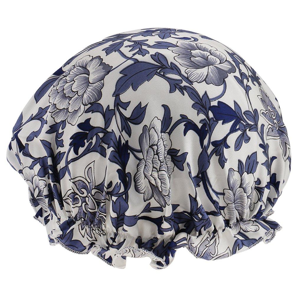MagiDeal Femme Bonnet de Nuit en Soie Coiffe Essentielle Pour Perte De Chimio Chapeau de Sommeil Casquette Tête - Fleur bleue