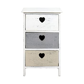 mobili rebecca table de nuit chevet 3 tiroir rebecca dolce casa bois blanc gris beige romantique