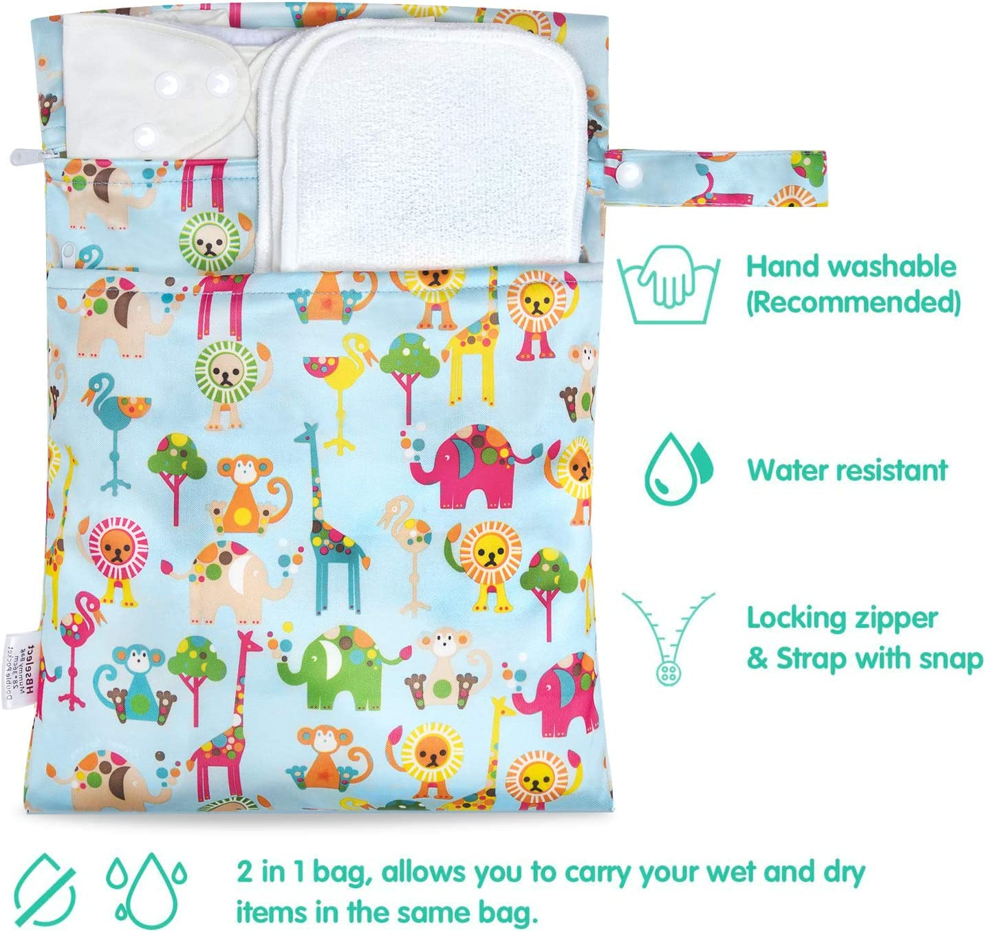 HBselect 2pcs Wet Dry Bag for Cloth Diapers Washable 2-Zip Baby Diaper Nappy Storage Bags