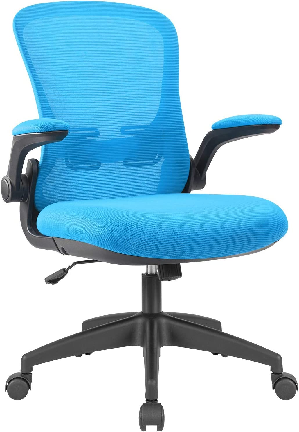 Devoko Office Desk Chair Ergonomic Mesh Chair Lumbar Support with Flip-up Arms and Adjustable Height (Blue)