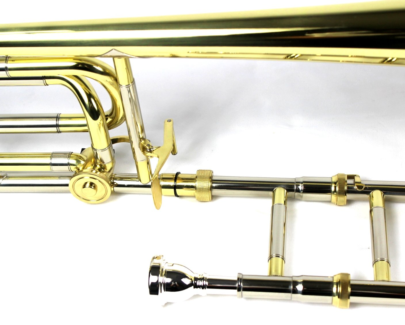 Brand New Bb/F Bass Trombone w/ Case and Mouthpiece- Gold Lacquer Finish by Moz (Image #5)