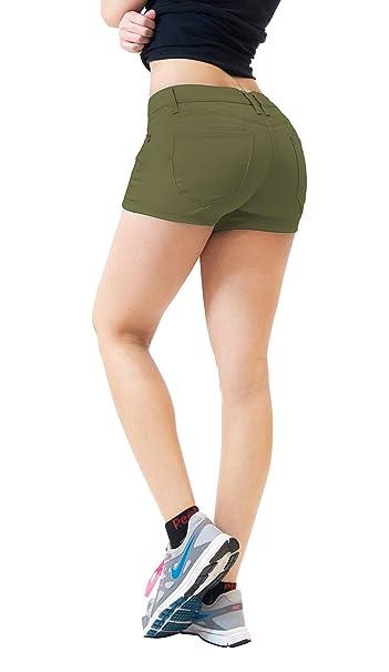 c3531e4eac7 HyBrid   Company Womens Butt Lifting Twill Denim Shorts-SH43308-ARMY Green-1