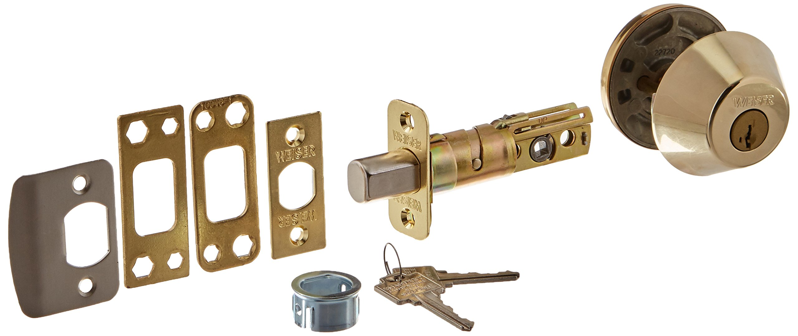 WEISER LOCK GD9471X 3 SMT K4 MS RLR2 Single Cylinder Deadbolt, Bright Brass by Weiser