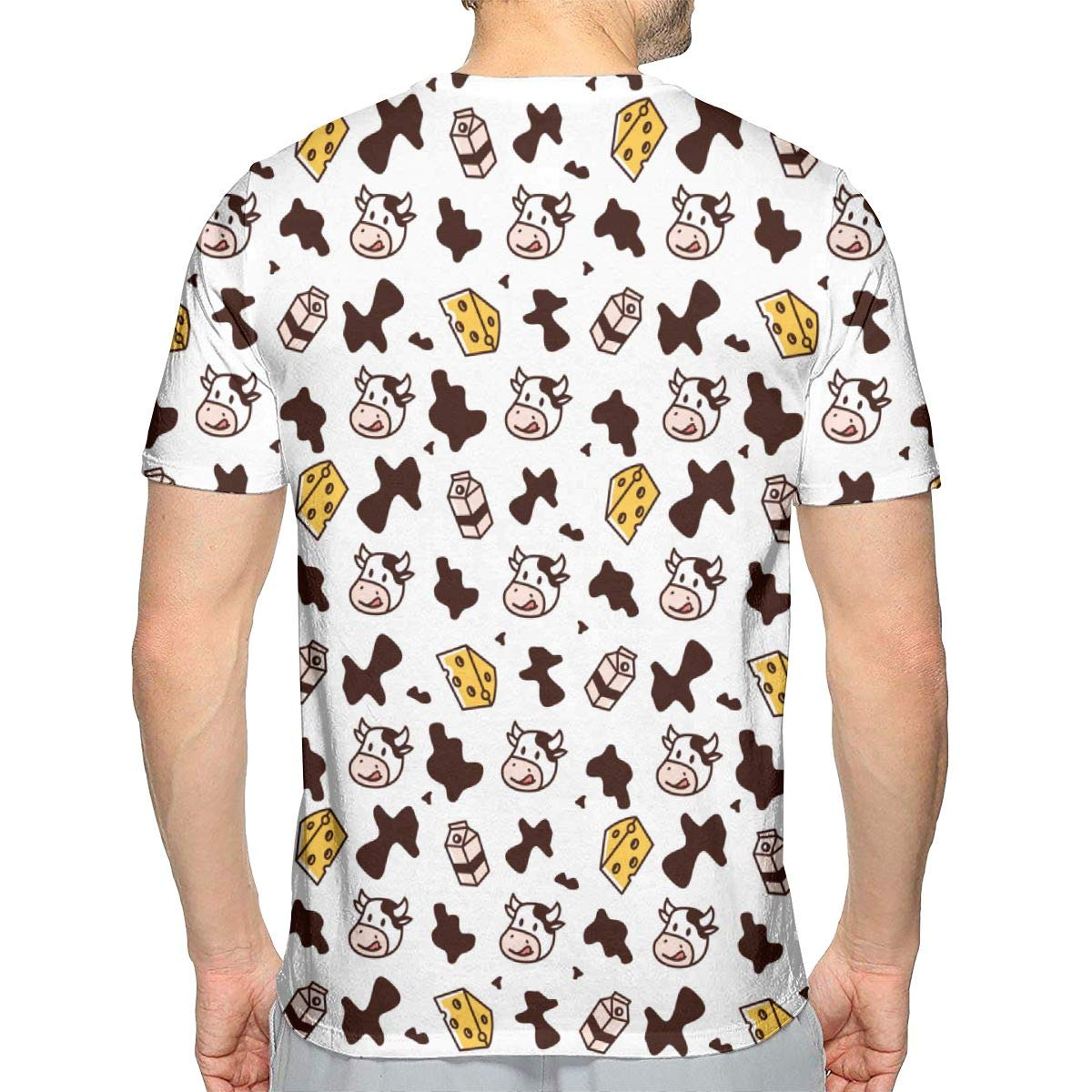 Classic Stylish Mens T-Shirt Summer Baseball Short Sleeve Cow Pi Patterns