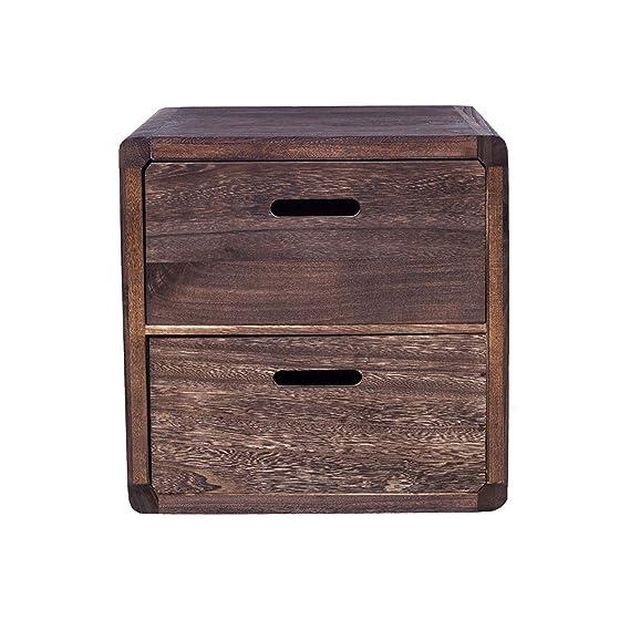 Rebecca Mobili Mesilla de noche vintage, cajonera 2 cajones en madera de paulownia, color marrón, muebles hogar - Medidas: 44,5 x 44 x 35 cm (AxANxF) ...