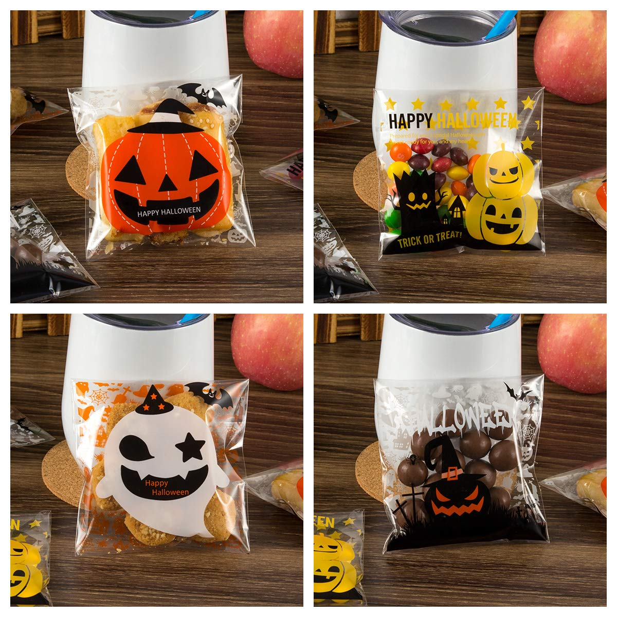 400PCS Halloween Self Adhesive Candy Bags Clear Cellophane Bags 4 Different Style Trick or Treat Bag for Cookie Bakery Biscuit Snacks Dessert Homemade Crafts by Homfshop (Image #4)