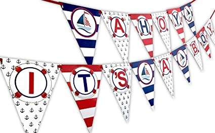 622be0ab25313 Image Unavailable. Image not available for. Color: Ahoy It's A Boy Nautical  Baby Shower Banner Pennant