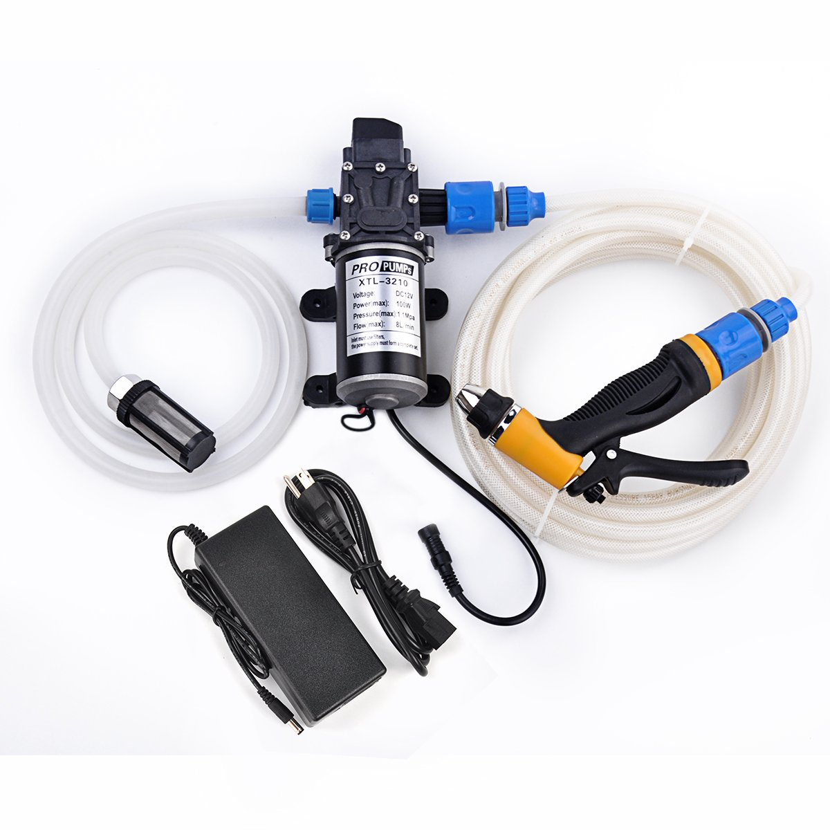 Dewel 100W 12V Portable Pressure Washer Car Wash Cleaning System Kit 200PSI Water Pump for Auto, Marine, Pet, Window,Travel, Gardening and Camping (100W with Power adapter)