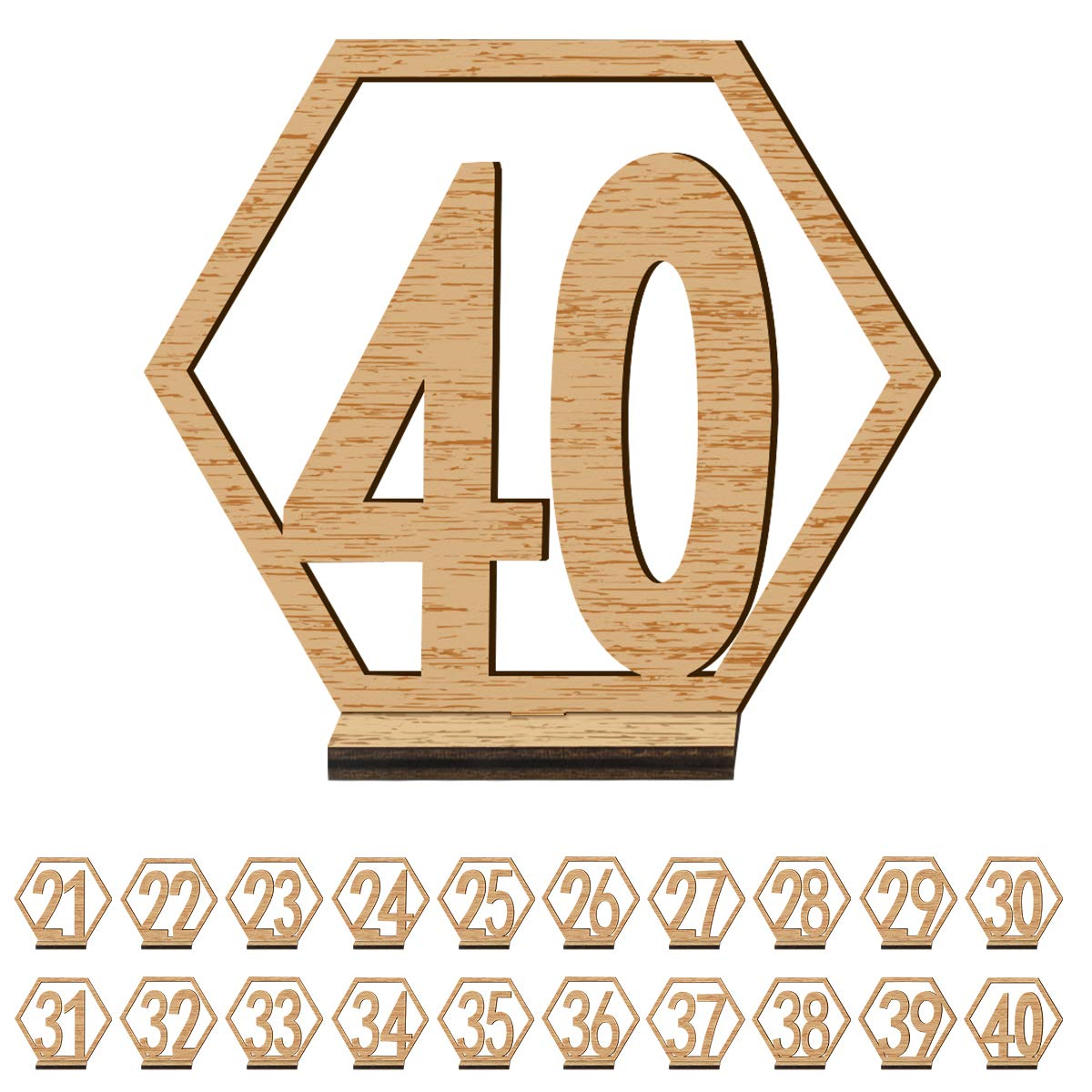 ElekFX Table Numbers 20 Pack 1-20 Wedding Wooden Desk Number Cards with Base Party Card Double Sided Design Table Holder for Wedding Reception and Decoration (M)