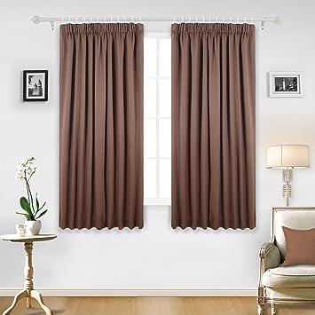 Vorhänge Zum Verdunkeln amazon de deconovo gardinen blickdicht kräuselband vorhang