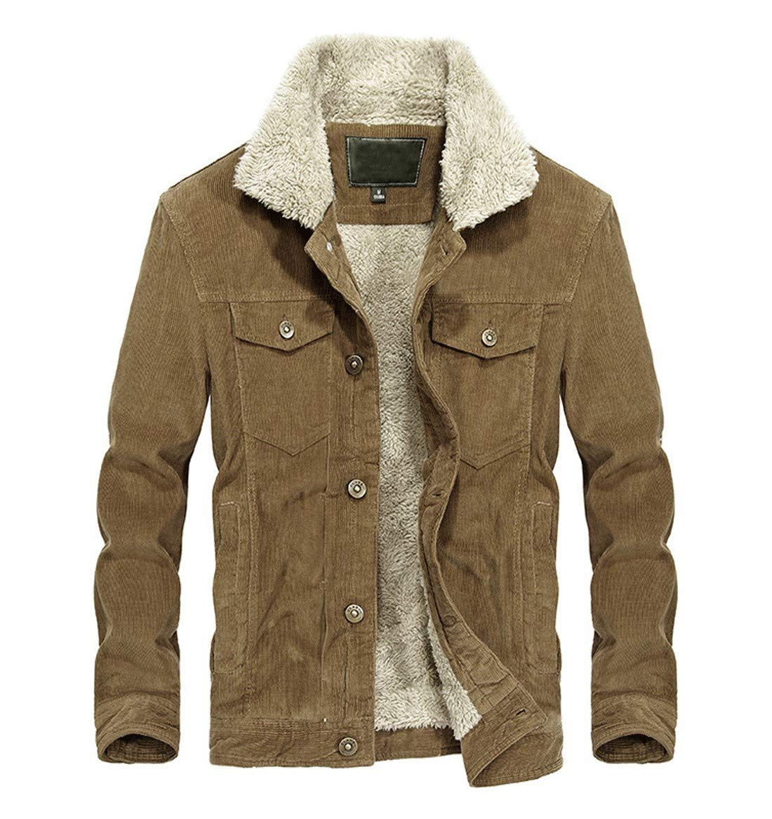 CHARTOU Men's Vintage Button-Front Sherpa Lined Shearling Slim Fit Corduroy Denim Jacket (Large, Khaki-Fleece) by CHARTOU
