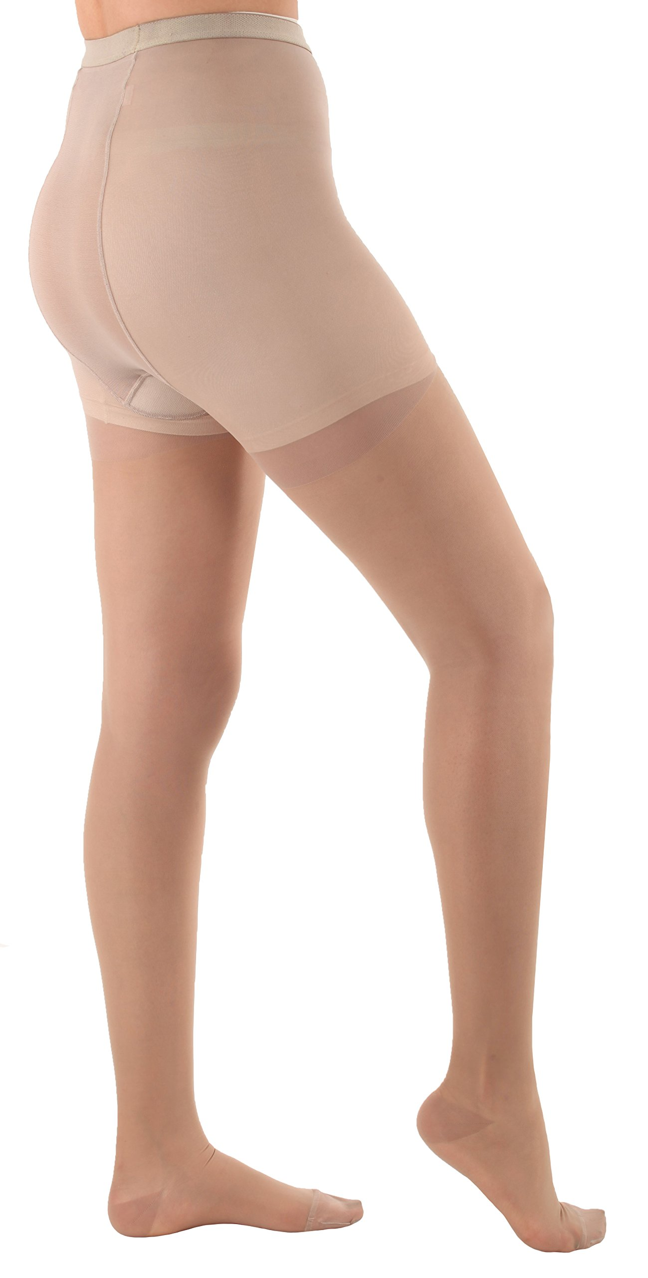 Sheer Compression Firm Support Pantyhose 20-30mmHg - Nude, Medium - Absolute Support Model A207 - Made in USA