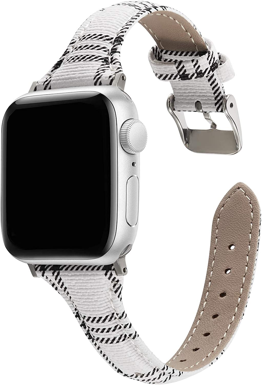 MeShow 44mm 42mm Slim Tartan Plaid Style Replacement Strap Wrist Band Watch Band with Metal Adapter Compatible for Apple Watch Series SE 6 5 4 3 2 1(Not fit for 38mm/40mm Apple Watch)