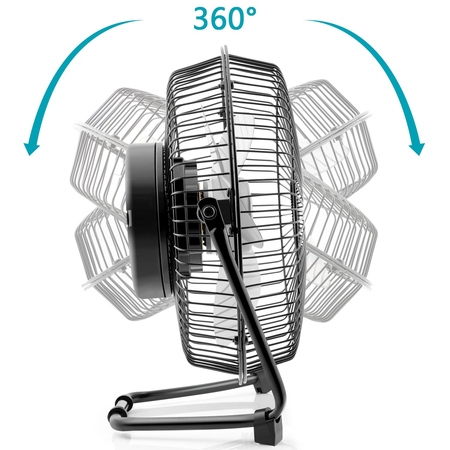 OPOLAR 9 inch USB Rechargeable Desk Fan with 6700mAh Capacity, Long Working Time, Good Airflow,Whisper Quiet, Two Settings, Personal Cooling Fan for Home & Office & Hurricane & Camping by OPOLAR (Image #6)