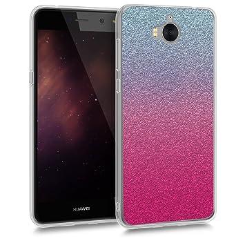 kwmobile Funda para Huawei Y6 (2017) - Carcasa de [TPU] para móvil y diseño Degradado de Purpurina en [Rosa Fucsia/Plata/Azul Claro]