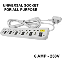Elove 6 Amp Multi Plug Point 6 Plus 6 Extension Board Universal Socket (3.5 Meter Cord) with LED Indicator - Black/Grey [Color May Vary]