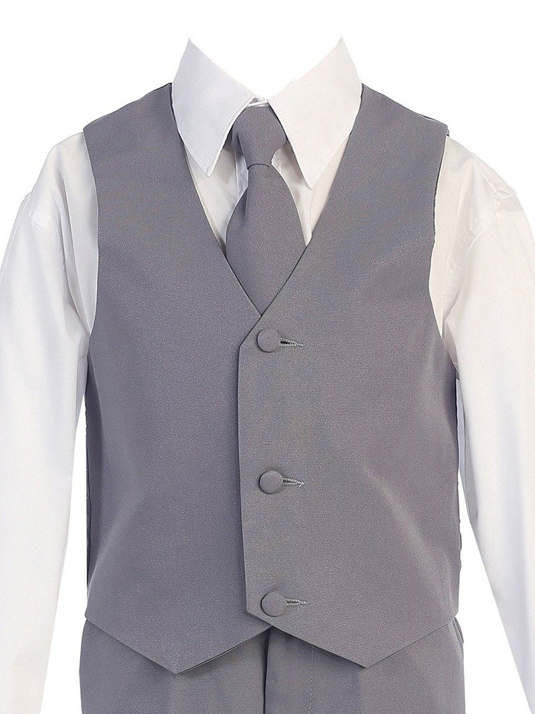 iGirlDress Boys Formal Dress Suit with Shirt and Vest Gray 12 by iGirldress (Image #3)