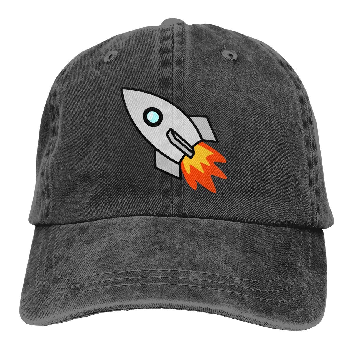 Qbeir Adult Unisex Cowboy Cap Adjustable Hat Cartoon Rocket Takeoff Cotton Denim