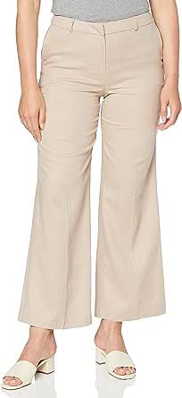 Marca Amazon - find. Pantalón Ancho de Lino Mujer