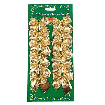 Schleifen Weihnachtsbaum.Lqz 12stk Schleife Weihnachtsbaum Schleifen Weihnachten Deko Ziehschleifen Gold