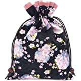 巾着袋 裏地付き 和柄 黒花柄×ピンク 日本製 御朱印帳入れ 御朱印帳袋