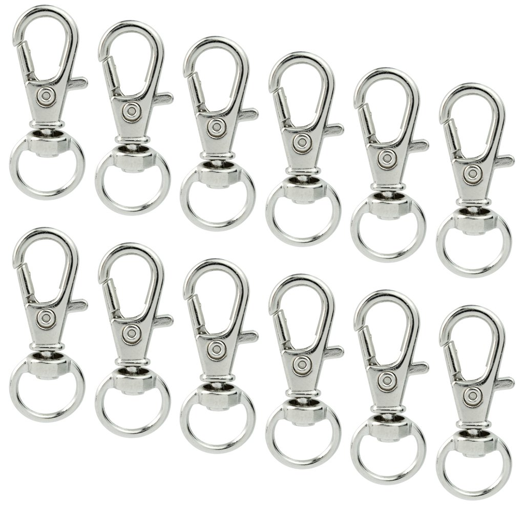 100 pcs Metal Swivel Lanyards Snap Hooks, cnomg Lobster Clasps Keychain Rings with Key Rings for Jewelry Findings DIY Crafts ® India 9994