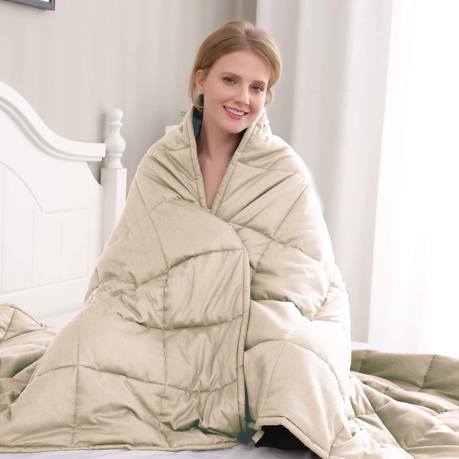 Amy Garden Weighted Blanket (48x72 Inch,15 lbs for 120-180 lbs Individual, Taupe) | Adults Heavy Blanket