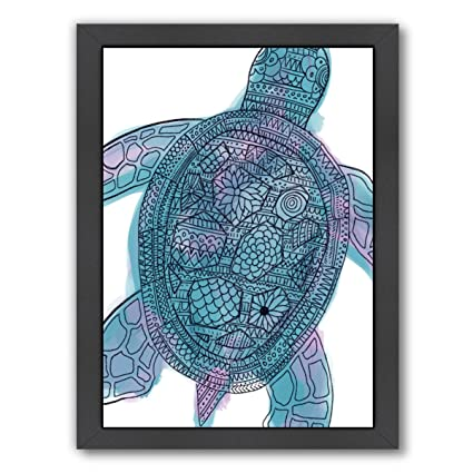 1fbbe75cebd57 Image Unavailable. Image not available for. Color: Americanflat Watercolor  Tribal Pattern Sea Turtle Black Frame Print ...