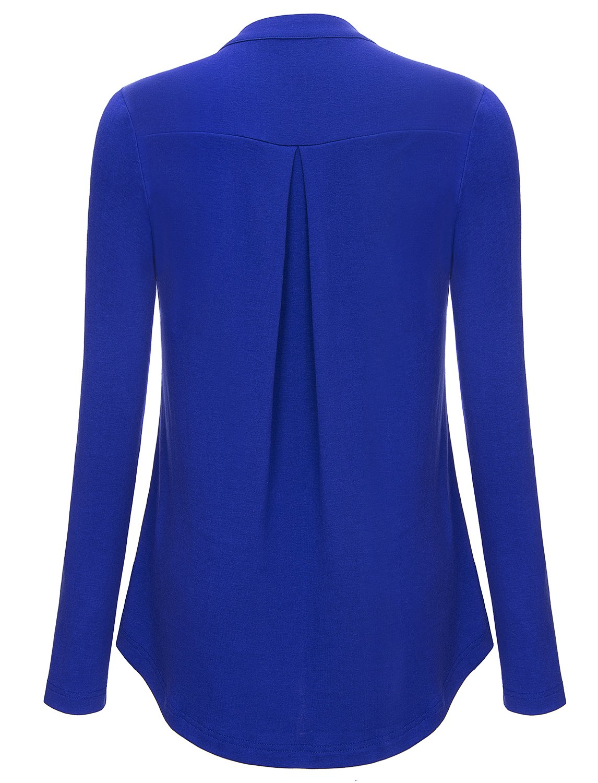 2f138ee1e0fe88 YaYa Bay Women's Notch-V Neck Long Sleeve Roll-Up Sleeve Zip Up Casual Shirt  Blouse Tops - tunic Y801 < Tunics < Clothing, Shoes & Jewelry - tibs