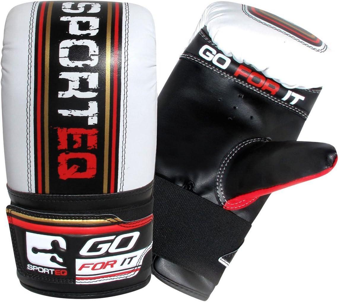Saco de boxeo de Sporteq Boxing de 1,5 m soporte de pared y cadenas blanco // negro guantes de entrenamiento