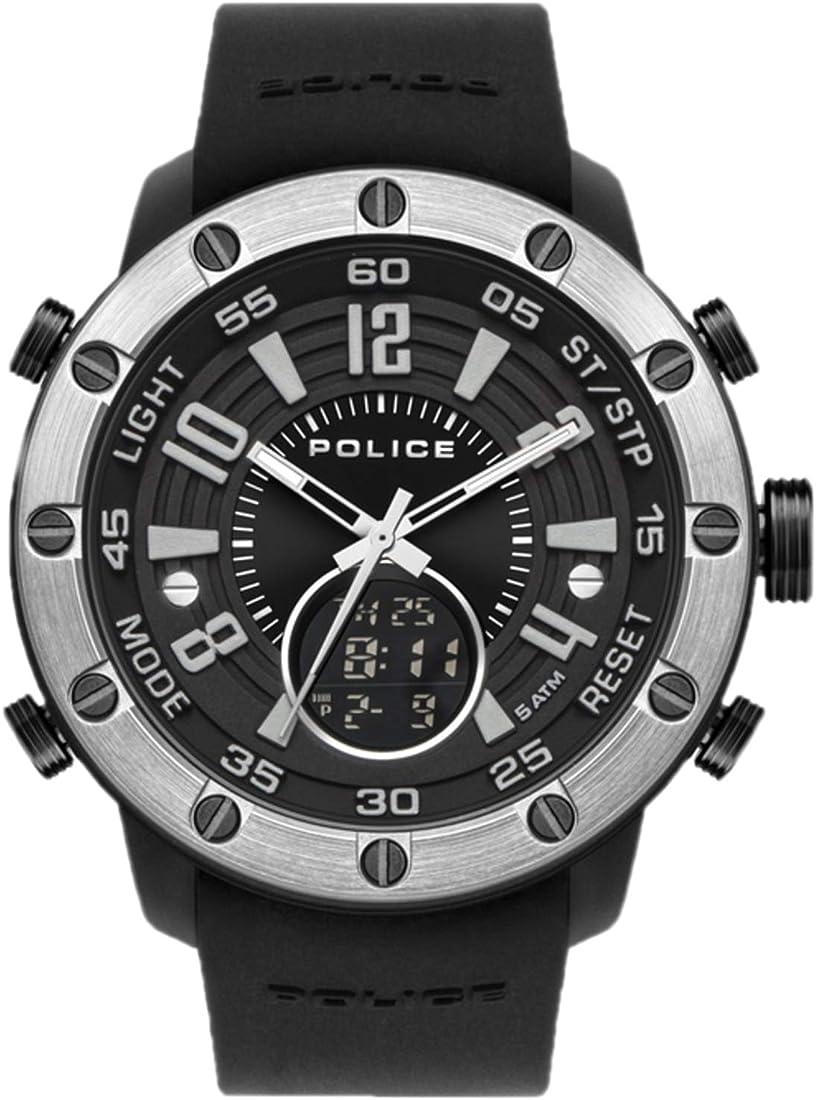 Orologio police watches batur uomo analogico - digitale con cinturino in silicone pl.16015jpbs-02p