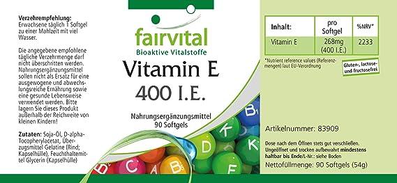 Vitamina E cápsulas 400 UI - Altamente dosificado - 90 ...