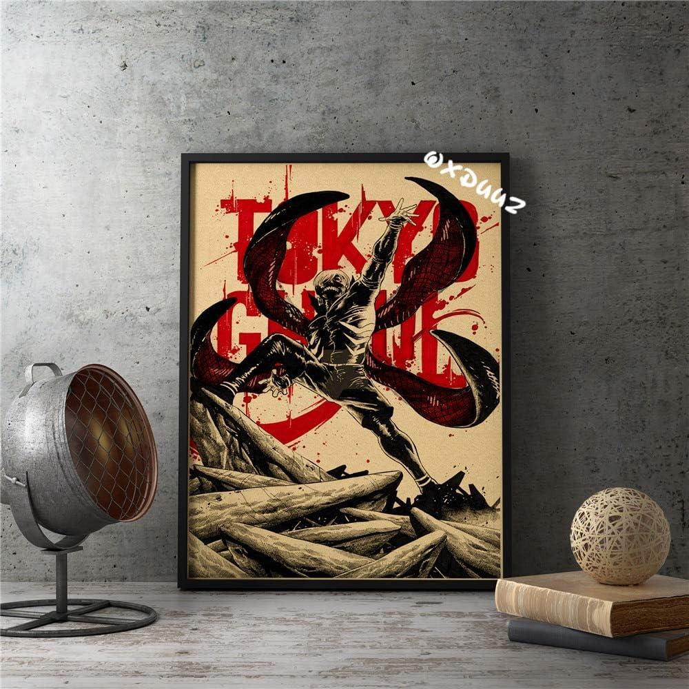 yiyiyaya Familia Arte de la Pared Decoración Japón Alta popularidad Anime Tokyo Ghoul Cartel de Estilo Antiguo Estilo Retro Cartel de decoración del hogar 50x75cm