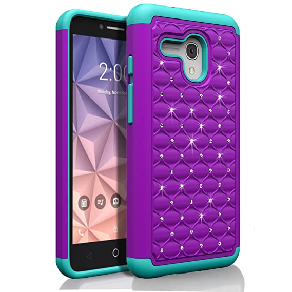new product 177e5 2d43b Alcatel One Touch Fierce XL Case, Starshop Slim Dual Layer Armor Phone Case  Cover With Spot Diamond Teal/Purple With Premium Screen Protector