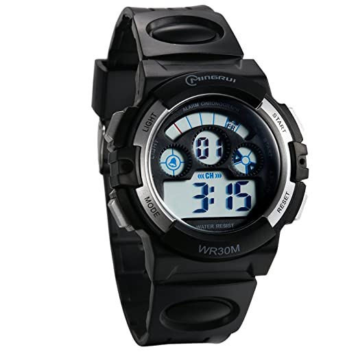 JewelryWe Reloj Digital de Chicos Adolescentes Reloj Militar Deportivo Grande Correa de PVC A Prueba de Agua 3ATM, Multifuncional Plateado Reloj de Pulsera ...