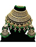 Finekraft Attractive Meena Kundan Stone Pearls Designer Gold Plated Necklace Jewelry Set for Girls